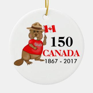 Adorno De Cerámica Aniversario orgulloso canadiense del castor 150
