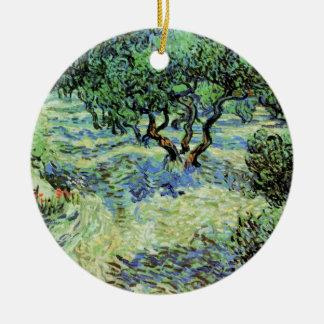 Adorno De Cerámica Arboleda verde oliva de Van Gogh, bella arte de