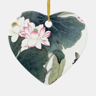 Adorno De Cerámica Arte asiático de la mariposa de la flor del rosa