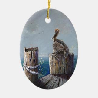 Adorno De Cerámica Arte de acrílico del océano del pelícano de Brown