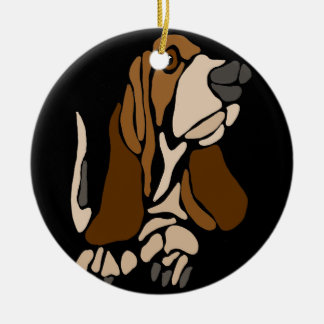 Adorno De Cerámica Arte divertido del perro de Basset Hound