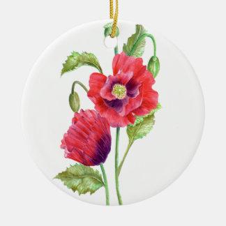 Adorno De Cerámica Arte floral de las amapolas rojas de la acuarela