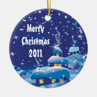 """Adorno De Cerámica azul con mensaje de """"Feliz Navidad"""""""