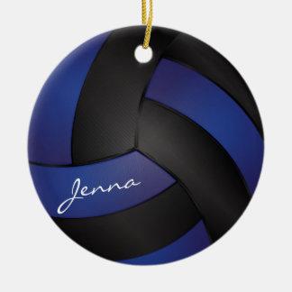 Adorno De Cerámica Azul marino y negro personalice el voleibol
