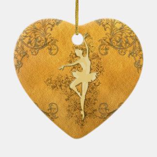 Adorno De Cerámica Bailarina de oro hermosa