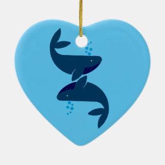 Adorno De Cerámica ballenas azules