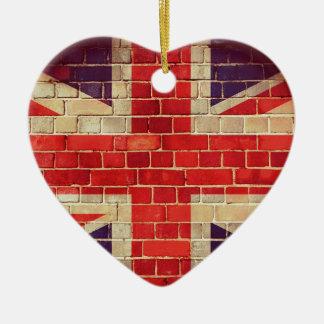 Adorno De Cerámica Bandera BRITÁNICA del vintage en una pared de