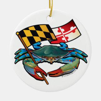 Adorno De Cerámica Bandera de Maryland del cangrejo azul