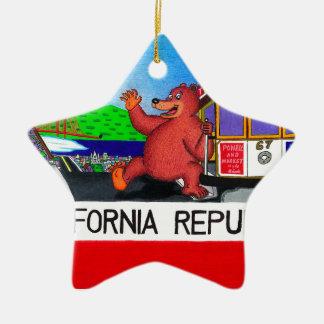 Adorno De Cerámica Bandera del oso de San Francisco California