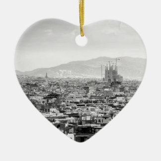 Adorno De Cerámica Barcelona blanco y negro