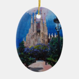 Adorno De Cerámica Barcelona Sagrada Familia con el parque y la