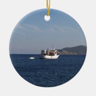 Adorno De Cerámica Barco de pesca griego