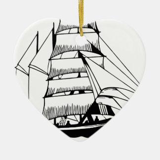 Adorno De Cerámica barco de vela blanco negro magnífico