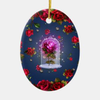 Adorno De Cerámica Belleza mágica encantada del rosa rojo y la bestia