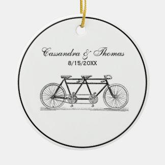Adorno De Cerámica Bicicleta del vintage construida para dos/bici en