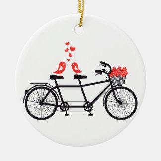 Adorno De Cerámica bicicleta en tándem con los pájaros lindos del
