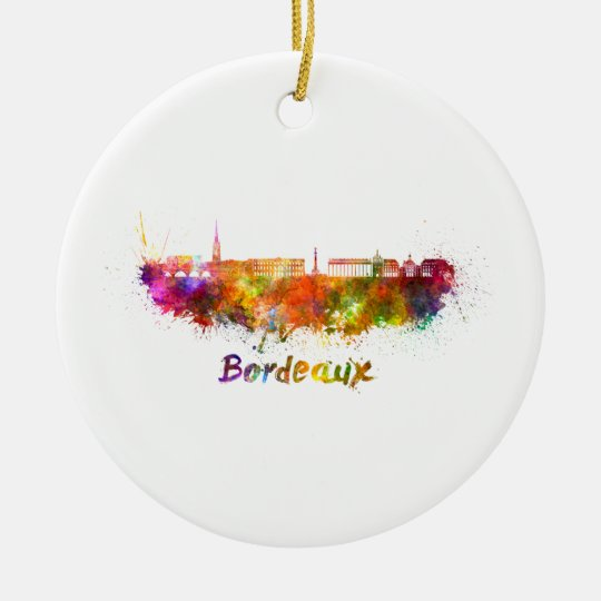 Adorno De Cerámica Bordeaux skyline in watercolor