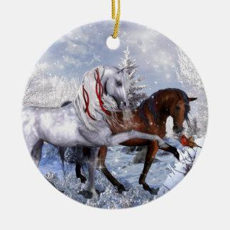 Adorno De Cerámica Caballos del día de fiesta del navidad