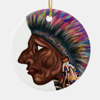 Adorno De Cerámica Cabeza del nativo americano