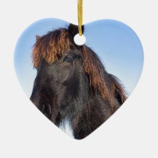 Adorno De Cerámica Cabeza del retrato del caballo negro del Frisian