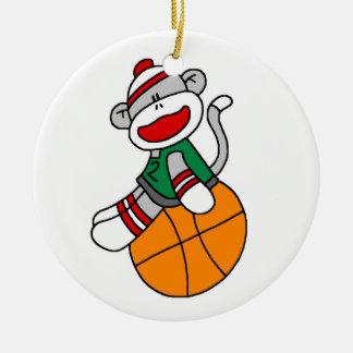 Adorno De Cerámica Camisetas y regalos del baloncesto del mono del