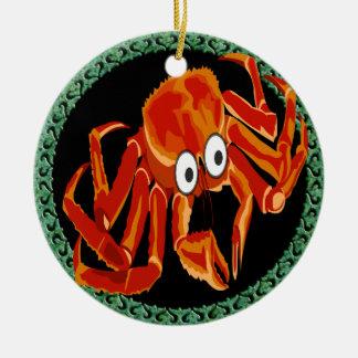 Adorno De Cerámica Cangrejo de rey anaranjado tropical del mar del