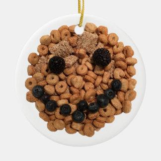 Adorno De Cerámica Cara sonriente linda de la fruta y del cereal