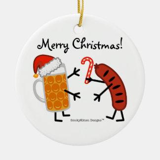 Adorno De Cerámica ¡Cerveza y Bratwurst - Felices Navidad!