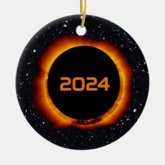 Adorno De Cerámica Cielo estrellado de la fecha total del eclipse