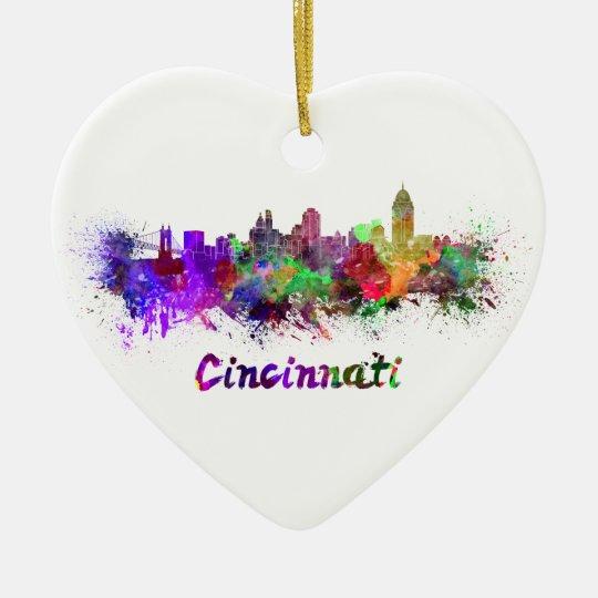 Adorno De Cerámica Cincinnati skyline in watercolor