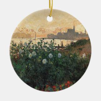 Adorno De Cerámica Claude Monet - Riverbank florecido Argenteuil