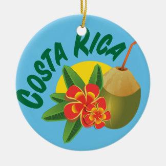 Adorno De Cerámica Colores brillantes de Costa Rica con los hibiscos
