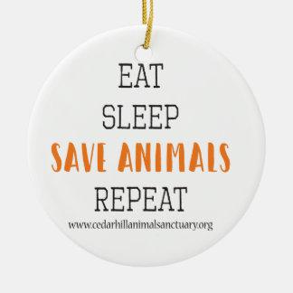 Adorno De Cerámica Coma los animales de la reserva del sueño