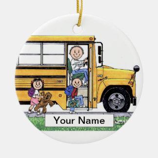 Adorno De Cerámica Conductor del autobús escolar - varón