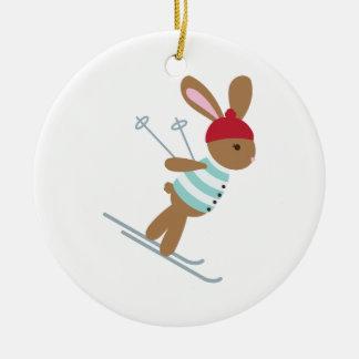 Adorno De Cerámica Conejito del esquí