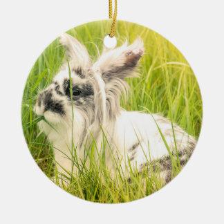 Adorno De Cerámica Conejo blanco y negro