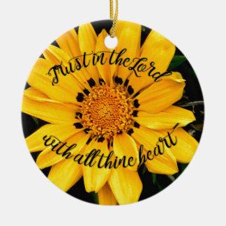 Adorno De Cerámica Confianza en el señor Bright Yellow Flower