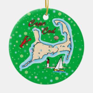 Adorno De Cerámica Copos de nieve del velero de la langosta del mapa