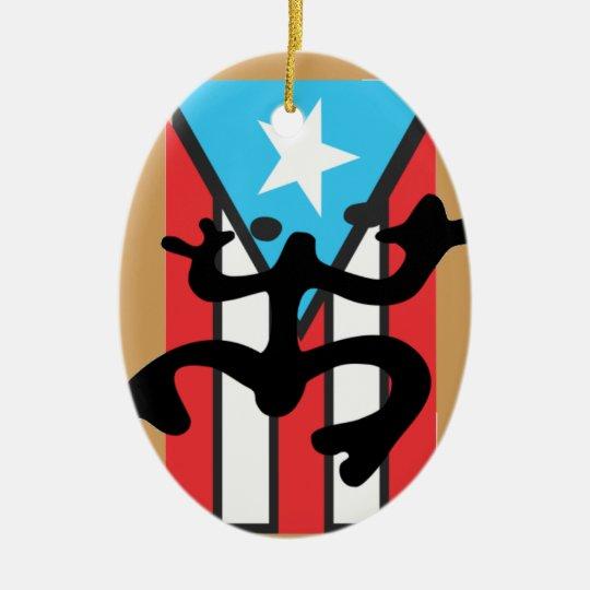 Adorno De Cerámica Coqui taíno sobre bandera de Puerto Rico