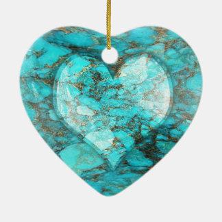 Adorno De Cerámica Corazón de la roca de la turquesa