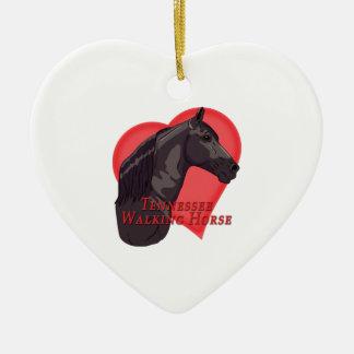 Adorno De Cerámica Corazón negro del caballo de Tennessee que camina