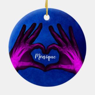 Adorno De Cerámica Corazón púrpura de la radiografía de la mano