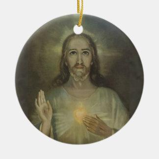 Adorno De Cerámica Corazón sagrado de la entronización de Jesús