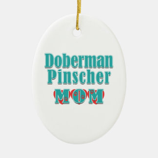 Adorno De Cerámica Corazones de la mamá del Pinscher del Doberman