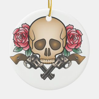 Adorno De Cerámica cráneo con los armas y las flores del vintage