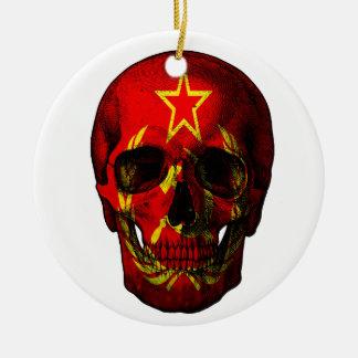 Adorno De Cerámica Cráneo ruso de la bandera