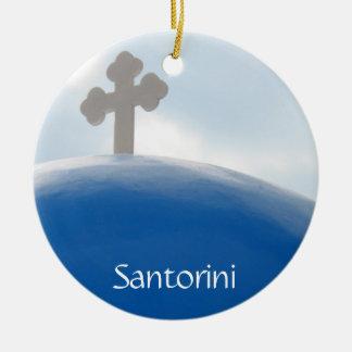 Adorno De Cerámica Cruz de Santorini por la tarde Sun