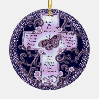 Adorno De Cerámica Cruz púrpura del rezo de la serenidad
