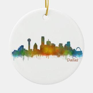 Adorno De Cerámica Dallas Texas City Watercolor Skyline Hq v2
