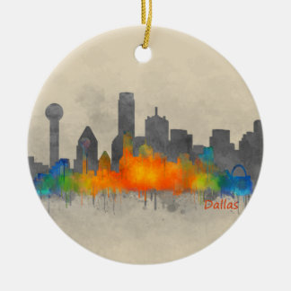 Adorno De Cerámica Dallas Texas City Watercolor Skyline Hq v2 b/w